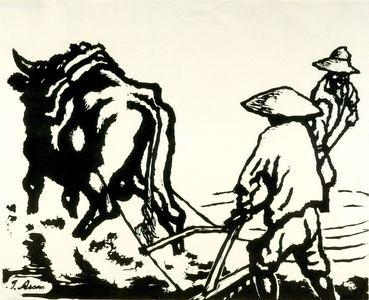 ASANO Shûgô: Plowing, Shôwa period, mid 20th century - ハーバード大学