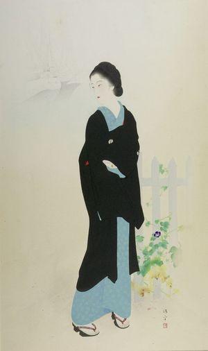 鏑木清方: Woman at Akashi-chô, Tsukiji, Tokyo, Shôwa period, dated 1931 - ハーバード大学