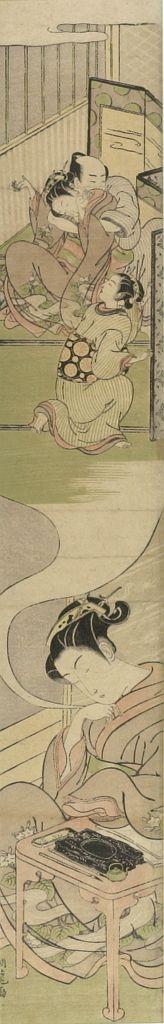 Isoda Koryusai: Girl Asleep at Writing Table, Dreaming of a Rape - Harvard Art Museum