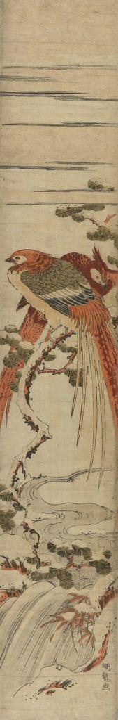 磯田湖龍齋: Two Pheasants in the Snow - ハーバード大学