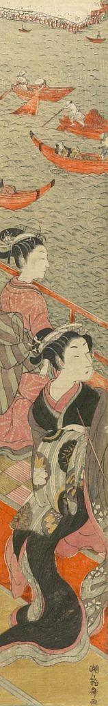 磯田湖龍齋: Courtesan and Kamuro Looking over River, Edo period, circa 1772-1773 - ハーバード大学