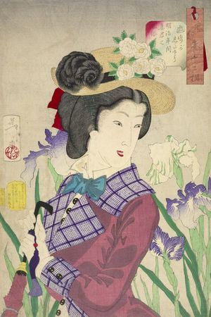 月岡芳年: Strolling: the Appearance of an Upper-Class Wife of the Meiji Era (Sanpogashitasô Meiji nenkan saikun no fûzoku), from the series Thirty-Two Aspects of Women, Meiji period, datable to 1888 - ハーバード大学