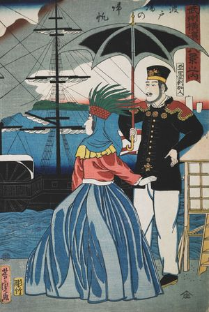 歌川芳虎: Returning Sails at the Wharves (Hatoba no kihan), from the series Eight Views of Yokohama in Bushû (Bushû Yokohama hakkei no uchi), published by Yamadaya Shôjirô, Late Edo period, first month of 1861 - ハーバード大学