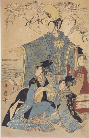 無款: A Samurai and Three Ladies Watching Banded Cranes - ハーバード大学