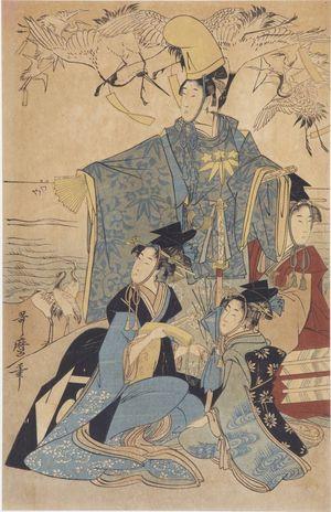 無款: A Samurai and Three Ladies Watching Banded Cranes - ハーバード大学