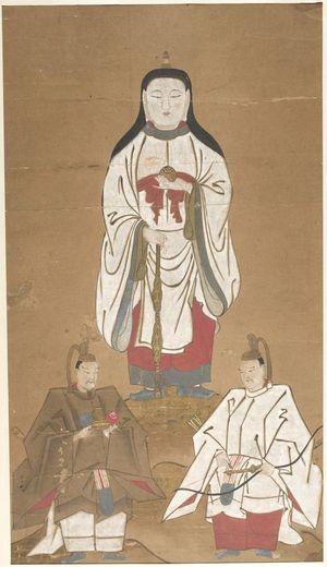 Unknown: Amaterasu ômikami with Guardians Myôjin and Taga Myôjin - Harvard Art Museum
