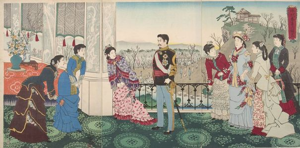 Kobayashi Kiyochika: Triptych: Emperor Meiji and His Consort in the Plum Garden (Miyo shun'e no baien), Meiji period, dated 1887 - Harvard Art Museum