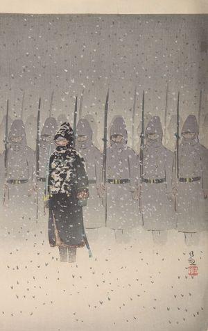 小林清親: The Japanese Army has Landed at Weihaiwei and is Marching Onward (Ikaiei Jôriku shingun no zu), Meiji period, dated 1895 - ハーバード大学