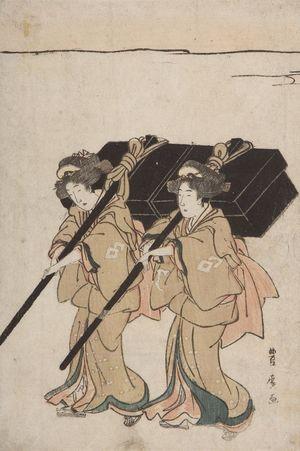 Utagawa Toyohiro: Procession of Women Carrying Palanquin - Harvard Art Museum