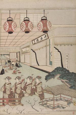 柳々居辰斎: Perspective View of Dancers in an Interior - ハーバード大学