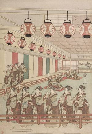 柳々居辰斎: Perspective View of Dancers in an Interior - ハーバード大学