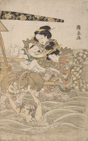 Ichiensai Kuninao: Woman Carried Across Water in Palanquin (Harugeshiki musume dochu) - ハーバード大学