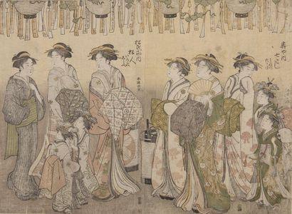 Katsukawa Shuncho: Three ladies and two small attendants - Harvard Art Museum
