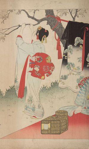 宮川春汀: Village of Cherry Blossoms, from the series Esteemed Towns and Villages (Tôsei furaku tsû), Meiji period, 1897 - ハーバード大学