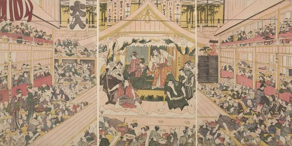 Utagawa Toyonobu: Triptych: Theater - ハーバード大学