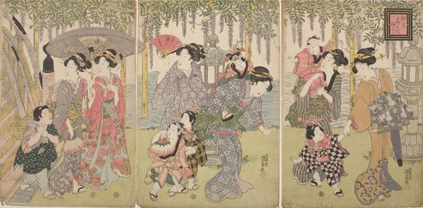 歌川国貞: Triptych: Women and Children - ハーバード大学