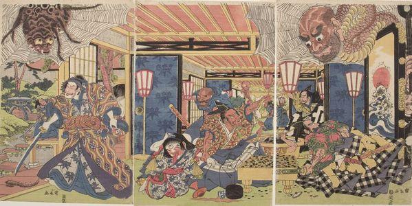 歌川國長: Triptych: Minamoto Yorimitsu (Kumo no sei ni rayama saru zu Yorimitsu) - ハーバード大学