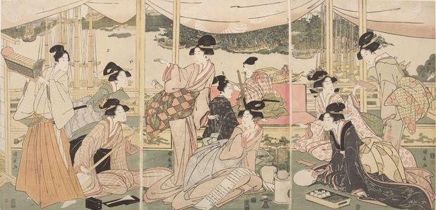 歌川國長: Triptych: Daimyo's Son Viewing the Sumida River - ハーバード大学