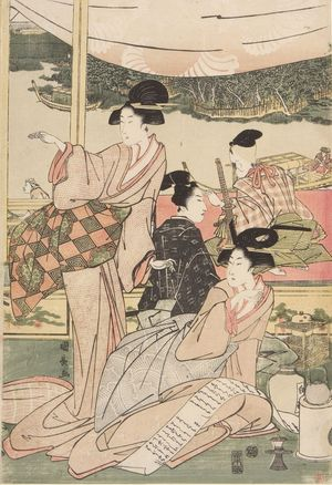 Utagawa Kuninaga: Daimyo's Son Viewing the Sumida River - Harvard Art Museum