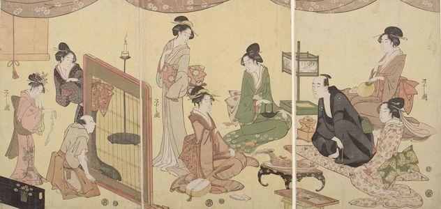 Hosoda Eishi: Triptych: Banquet Scene with Optical Device - Harvard Art Museum