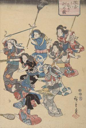 歌川広重: Beating the Second Wife According to the Old Custom, Late Edo period, circa 1852 - ハーバード大学