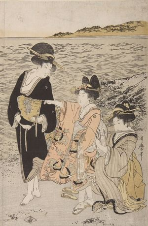 喜多川歌麿: Women at the Beach of Futami-ga-ura, Late Edo period, circa 1803-1804 - ハーバード大学
