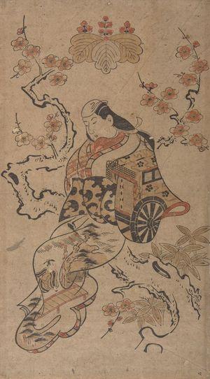 Torii Kiyonobu I: Actor HAYAKAWA HASSE AS A COURTESAN SEATED ON THE TRUNK OF A CHERRY TREE, Mid Edo period, datable to 1710 - Harvard Art Museum