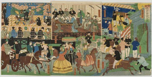 Utagawa Yoshitora: Triptych: View of the Amusements of the Foreigners in Yokohama, Bushu (Bushu Yokohama gaikokujin yûkyô no zu), published by Yamadaya Shôjirô, Late Edo period, first month of 1861 - Harvard Art Museum