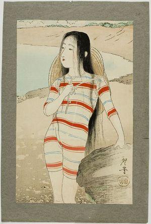 月岡耕漁: Sea-Bathing Beauty, Meiji period, dated 1903 - ハーバード大学