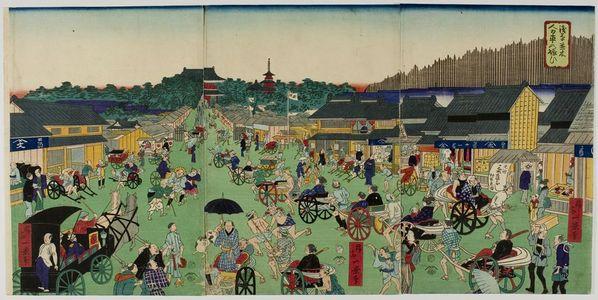 無款: Triptych: Street Scene, Meiji period, late 19th century - ハーバード大学