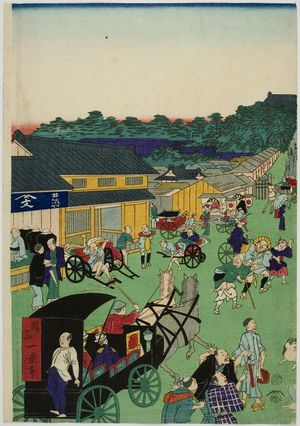 無款: Street Scene, Early Meiji period, late 19th century - ハーバード大学
