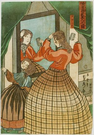 Utagawa Sadahide: A French Woman and Her Daughter in Front of a Mirror, from the series Foreign Merchants' Houses in Yokohama (Yokohama shôka ijin no zu), published by Tsujiokaya Bunsuke, Late Edo period, first month of 1861 - Harvard Art Museum
