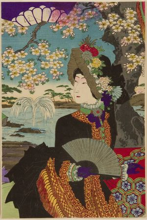 無款: Emperor Viewing Flowers, Meiji period, 1887 - ハーバード大学