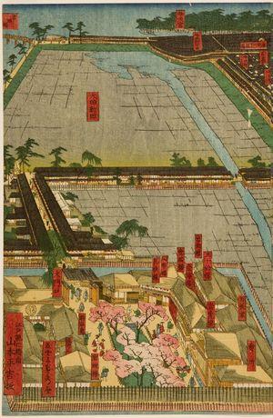 歌川貞秀: Detailed Print of Yokohama Hon-chô and the Miyozaki Pleasure Quarter (Yokohama Hon-chô ... ni Miyozaki ... kenkin zu), published by Yamamotoya Heikichi, Late Edo period, fourth month of 1860 - ハーバード大学
