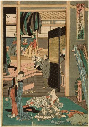 歌川芳員: Foreigners Enjoying Children's Kabuki at the Gankirô Tea House (Yokohama Gankirô kodomo te odori no zu), published by Maruya Jimpachi, Late Edo period, first month of 1861 - ハーバード大学