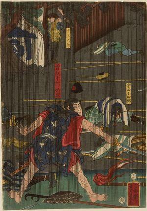 無款: Nocturnal Battle in Rain, Late Edo-early Meiji period - ハーバード大学