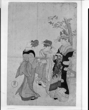 窪俊満: Courtesan and Attendants Beneath Cherry Blossoms, Edo period, circa 1790s - ハーバード大学