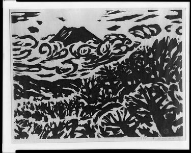 Sasajima Kihei: Mount Fuji Above the Trees, Shôwa period, dated 1958 - ハーバード大学