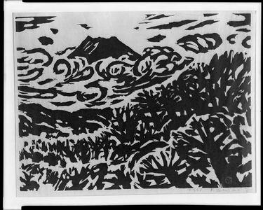 Sasajima Kihei: Mount Fuji Above the Trees, Shôwa period, dated 1958 - Harvard Art Museum