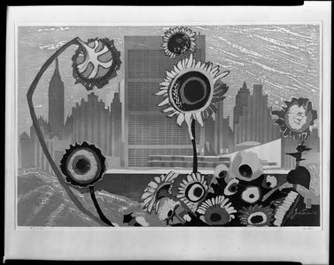 Sekino Jun'ichiro: Sunflowers and Skyscrapers (Flowers and New York), Shôwa period, circa 1960 - Harvard Art Museum