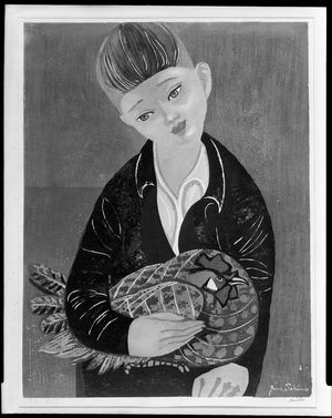 Sekino Jun'ichiro: Boy and Rooster, Shôwa period, dated 1957 - Harvard Art Museum