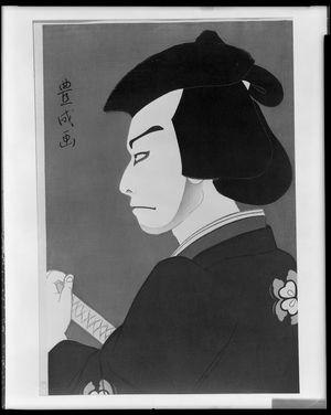 Yamamura Toyonari: Kabuki Actor in Profile Looking to Left with Sword, Taishô period, circa 1920-1922 - Harvard Art Museum