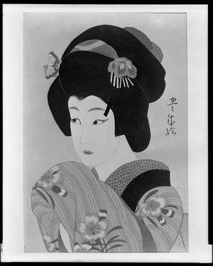 Yamamura Toyonari: Onnagata Ichikawa Shôchô 2nd as Oman, from the series Twelve Actor Prints (Jûni yakusha-e), Taishô period, dated 1920 - Harvard Art Museum