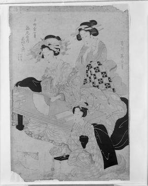 菊川英山: Three Ladies, Late Edo period, circa early to mid 19th century - ハーバード大学