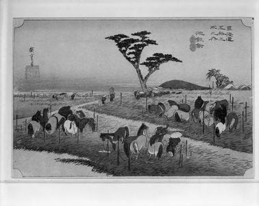 Utagawa Hiroshige: Station 40 -- Summer Horse Fair at Chiryû (Chiryû, shuka uma-ichi), from the series Fifty-three Stations of the Tôkaidô (Tôkaidô gojûsan-tsugi no uchi), Late Edo period, circa 1833-1834 - Harvard Art Museum