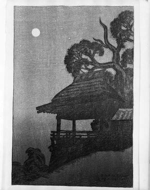 伊東深水: Moonlight at Ishiyama-dera, from the series Eight Views of Lake Biwa (ômi hakkei), Taishô period, dated 1917 - ハーバード大学