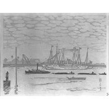 Fujimori Shizuo: Ships at Tsukushima, from the series One Hundred Views of New Tokyo (Shin Tokyo hyakkei), Shôwa period, dated 1929 - ハーバード大学