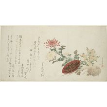 Kubo Shunman: Autumn Flowers, 9th Month (Chrysanthemums and Sake Cup), with poems by Yomobito Shirazu (ôta Nampo?), Tôkaidô Hayabumi and Haginoya-ô, Edo period, circa early 19th century - Harvard Art Museum