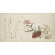 窪俊満: Autumn Flowers, 9th Month (Chrysanthemums and Sake Cup), with poems by Yomobito Shirazu (ôta Nampo?), Tôkaidô Hayabumi and Haginoya-ô, Edo period, circa early 19th century - ハーバード大学