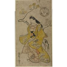 菱川師房: Courtesan Walking by Cherry Trees (Hana okamiyako), Edo period, 1700 - ハーバード大学